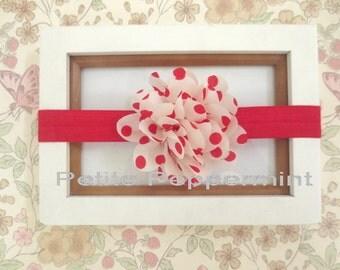 Red Polka Dot Baby headband, baby girl headband, newborn headband, toddler headband, Baby Hair Bow, Baby Head Band, Red Flower Headband