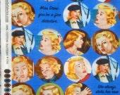 Get a Clue Nancy Drew faces royal blue moda fabric Long Quarter Yard