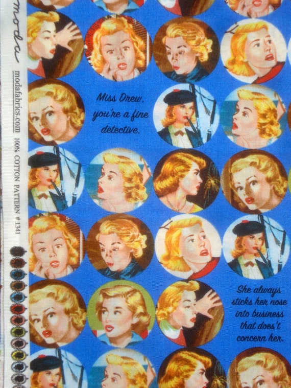 Get a Clue Nancy Drew faces royal blue moda fabric Long Quarter Yard