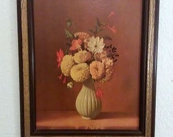 Vintage-Print On Cardboard-Flowers In Vase