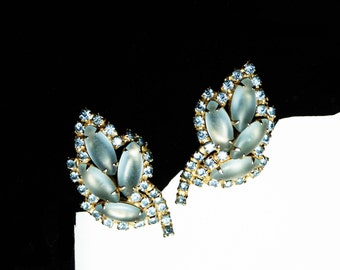 Blue Frosted Glass Earrings with Rhinestone Accents - Clip on Design - Vintage Jewelry