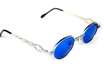 oval sunglasses Retro Goth Vampire Steampunk sunglasses cobalt blue lens unusual snake design on temples custom lens color options NOS