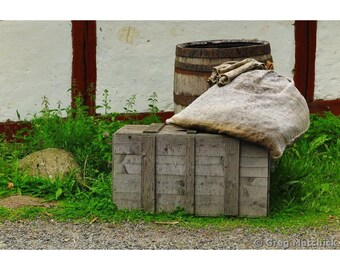 Fine Art Color Photography of Old Crate Barrel and Sack on a Farm in Sweden
