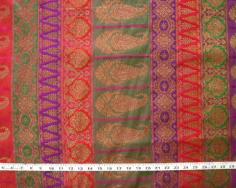pure silk brocade fabric - multicolored border style brocade in purple pink red and green - br066 - 1 yard