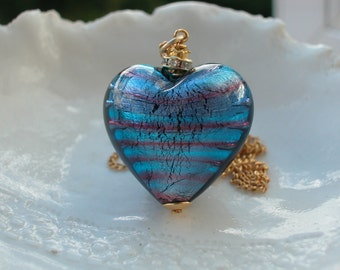 Large Venetian Murano Glass Heart Necklace