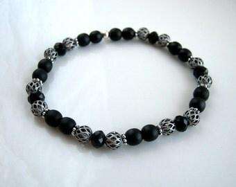 Antique Silver Black Crystal Black Stretch Bracelet Black Stretch Bracelet