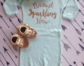 Brand sparkling New Baby Gown Hospital outfit baby shower gift take home outfit photo gift new mom Brand sparkling new glitter GOWN ONLY