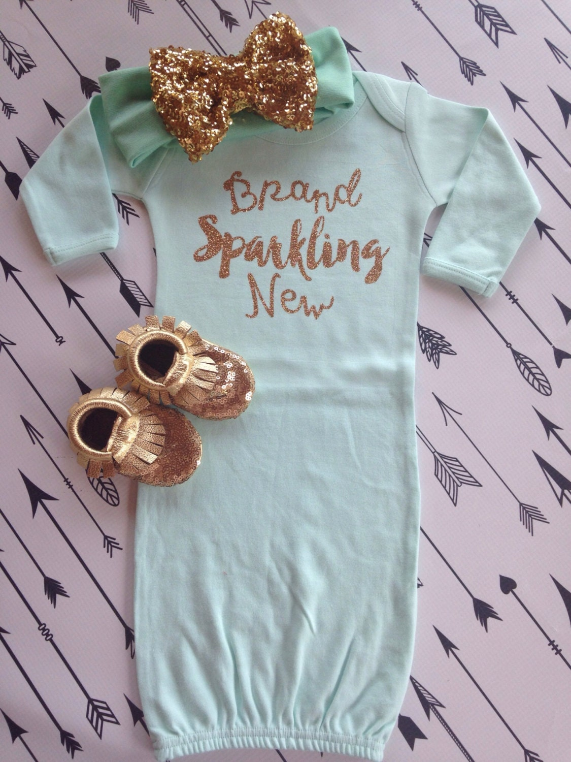 Sparkling New Year S Eve Nails Tutorial: Brand Sparkling New Baby Gown Hospital Outfit Baby By