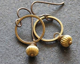 Petite Brass Dangle Hoops, Brass Earrings, Small Hoop Brass, Simple Jewelry