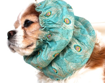 Teal Peacock Feathers Dog Snood,  Stay-Put 3 Rows Elastic Thread, Cavalier King Charles or Cocker Snood