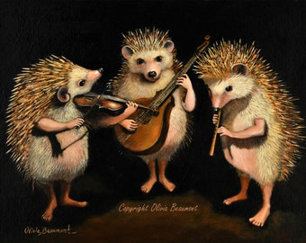 "Hedgehogs - ""The Hoggens Brothers""- Canvas Print 11x14"