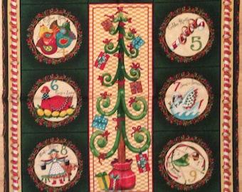 A Beautiful Christmas Holiday Twelve Days Of Christmas Fabric Panel Free US Shipping