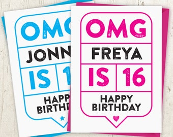 OMG 16th Birthday Speech Bubble Card