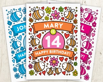Bumble Bee 14th Birthday Card