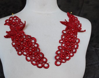 Cute venice beaded applique red  color   2  pieces listing