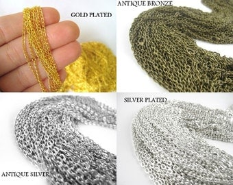 60pcs 18 inchBronze or Silver Necklace Chains - Silver Chains Bulk Necklace Chains - Wholesale Necklace Chains - Gold Plated Necklace Chains