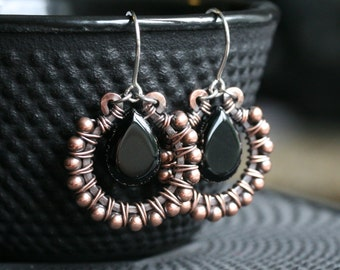 Black onyx earrings, beaded dangle hoop, copper bead, drop, wire wrapped, oxidized, dark, brown, Mimi Michele Jewelry