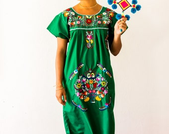 SALE Mexico Embroidered Dress Green