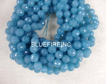 48 pcs Round Faceted Blue Quartz Beads in 8mm Full Strand