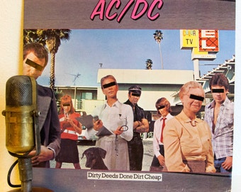 """ON SALE AC/Dc album 1970s Classic Rock """"Dirty Deeds Done Dirt Cheap"""" Vinyl Record Album Lp (1981 Atlantic Records with inner sleeve and """"Big"""