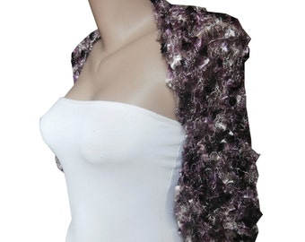 Knit purple lilac white Bolero - Wedding Bolero  - Size M-L Wedding Shrug Sleeves Wrap - Weddings Bridal Bridesmaid - Bridesmaid Cover up