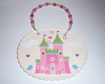 Castle Fit for a Princess Ceramic Wall Plaque, Baby Girl Gift, Nursery, Your Little Princess, Castle,Swarovski Crystals