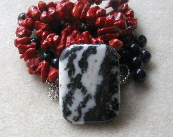 Zebra Jasper, Red Sponge Coral, Black Jasper, DIY Jewelry Kit, Bead Kit, Jewelry Making Beads, Craft Supplies, Necklace Kit, Gemstone Beads