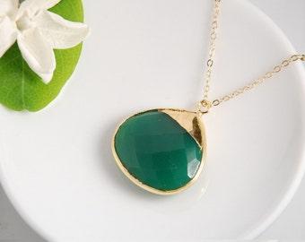 Green onyx gemstone necklace, vemeil bezel, 14K gold filled chain, everyday necklace