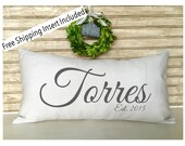 Shabby Chic Wedding  - Personalized couple Pillow - Family Name Pillow - Name Pillow with Est. Date - Insert Included FREE SHIPPING