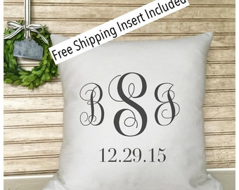 Rustic Wedding | Monogrammed  Wedding | Anniversary  Pillow - with Established Date - Pillow - Insert Included