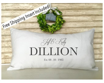 Personalized Wedding Gifts | Rustic Wedding Gifts | Anniversary Wedding Personalized Name Pillow - FREE SHIPPING