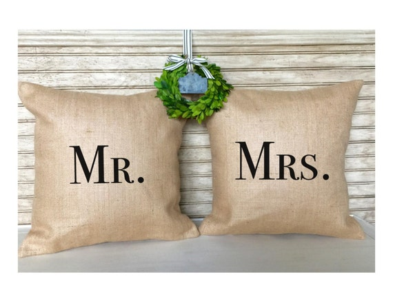Rustic Wedding Gifts | Couple Gifts | Burlap Pillows - Mr. and Mrs. - Wedding - Bridal Shower - Inserts Included