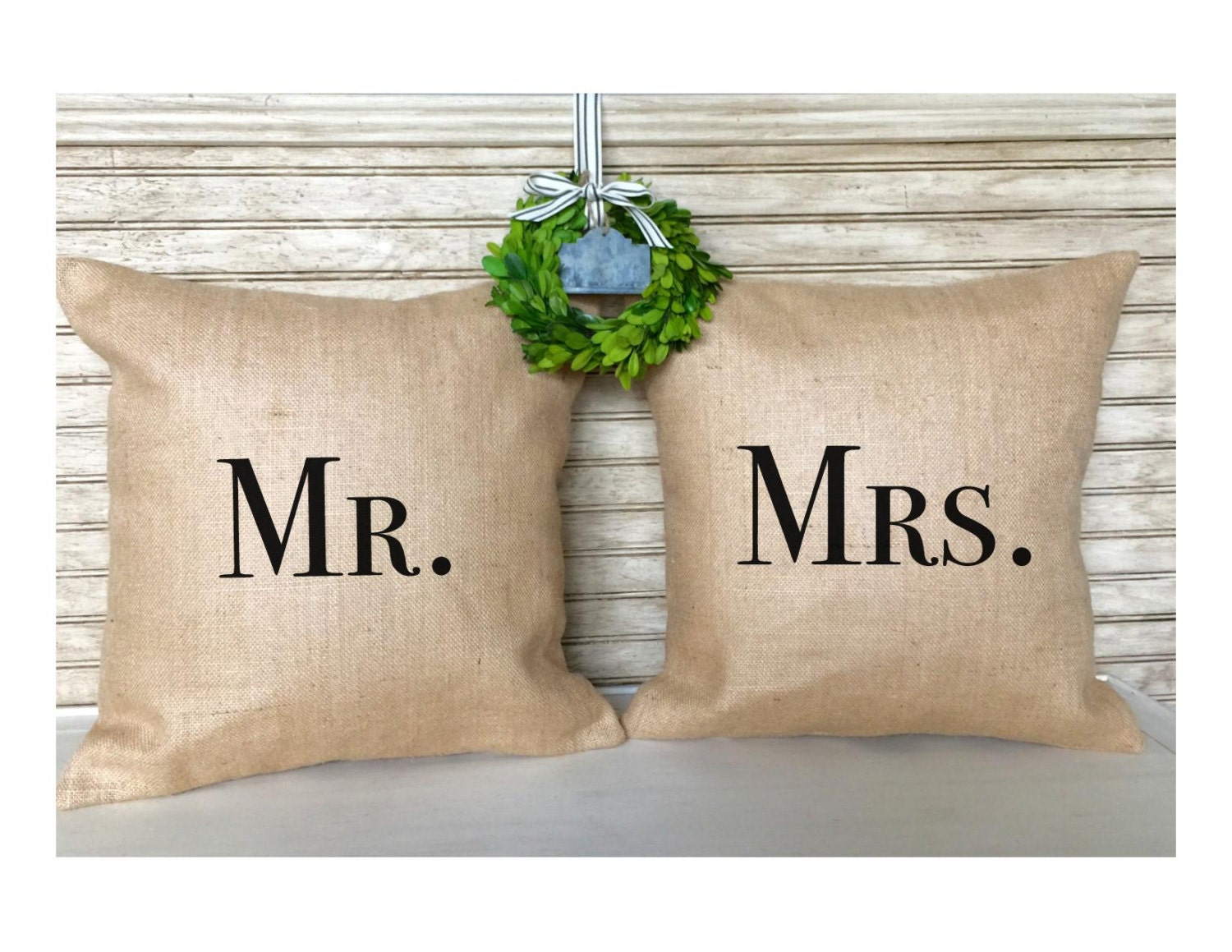 Mr Mrs Wedding Gifts: Rustic Wedding Gifts Couple Gifts Burlap Pillows Mr. And