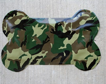 Wipeable Dog Placemat in Camo Print