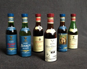 Vintage Italian miniature wine bottle collection. Souvenir gift for dad from Italy.
