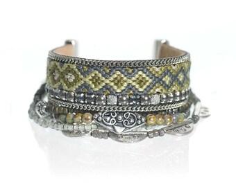 DMC friendship bracelet multistrand set in khaki / army green and grey - beaded multiple strands bracelet - bohemian jewelry - boho chic