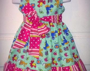 Sleeveless Summer Dress Sesame Street Elmo Zoe Grover Boutique 12/18M 24M/2T 3T/4T 5/6 Pageant New