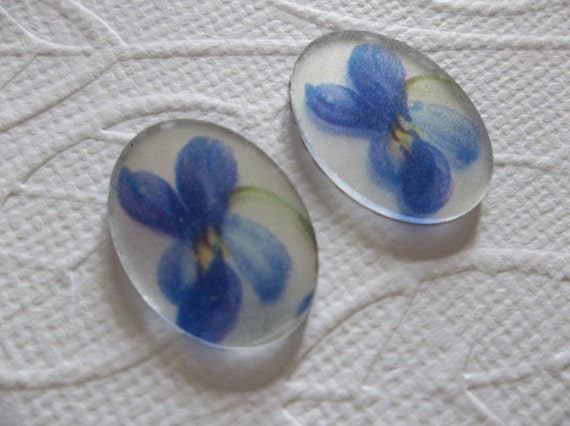 Blue Rose Bud White Cameos Vintage Decal Picture Stones 18X13mm Glass Cabochons