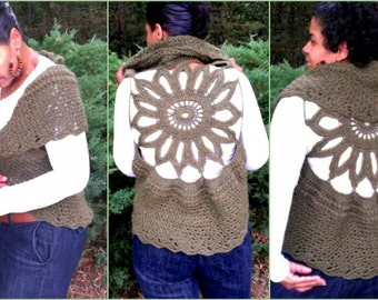 Crochet Vest Pattern - Circular Crochet Vest - Plus Size Clothing - Crochet Shrug - Easy Crochet Pattern - Plus Size Crochet - Quick Crochet