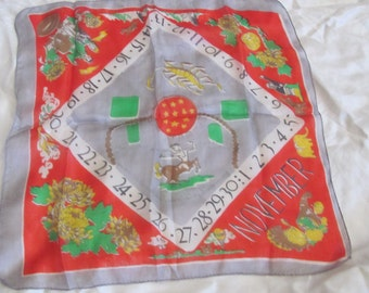 """Beautiful Antique Small November Astrological Silk Scarf - 16"""" Inch 44cm Square"""