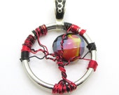 Red Sun Pendant- Wire Wrapped Pendant - Gift ideas