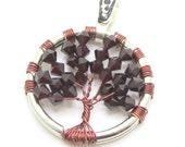 Swarovski Tree of Life Wire Wrapped Tree of Life Pendant - Swarovski - Garnet - tree jewelry, tree gifts