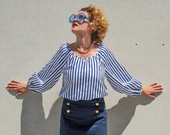 Carmen Blouse Striped, Maritime Blouse, Blue And White Stripes, Wide Neckline, Long Sleeves, Wide Shape, Satin Cotton