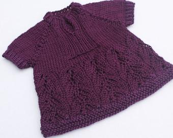 Hand Knit Baby Girl Tunic Top. Purple Baby Top. Purple Lace Baby Girl Tunic. 0 - 3 months
