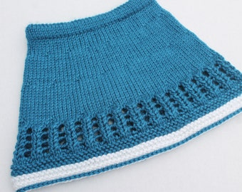 Hand Knit Baby Girl Skirt. Blue Skirt for Baby. Navy Baby Skirt. 6 months