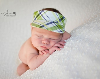 Darling Newborn Visor Photo Prop - Green and Navy Plaid - Perfect for Baby Boys
