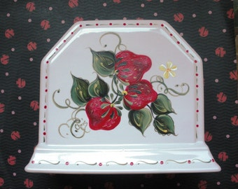 Strawberries Napkin Holder White Phaltzgraff Hand Painted Mail Holder OOAK Design Kitchen OFG Team