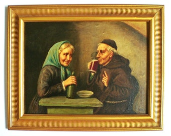 Antique Oil Painting Signed Vitale Italian School Tavern Scene
