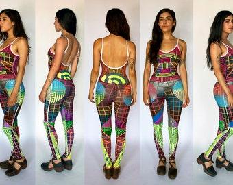 Body Suit - Bodysuit - Leggings - Hand Printed - Neon - Fluorescent - Psychedelic - Dance - Screen Print - Yoga - Festival - Op Art - Tights