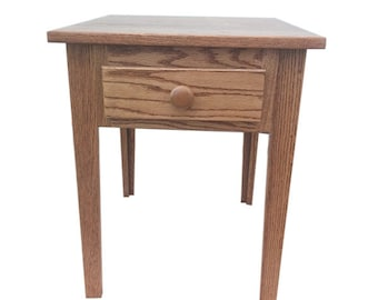 Shaker End Table Side Table Solid Farm Oak Wood, Classic Oak Maple side table, made By Amish Craftsmen